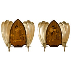 Art Deco Mjolby Intarsia Wall Sconces