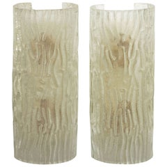 Pair of Textured Murano Glass Demilune Wall Sconces by Artisti Barovier