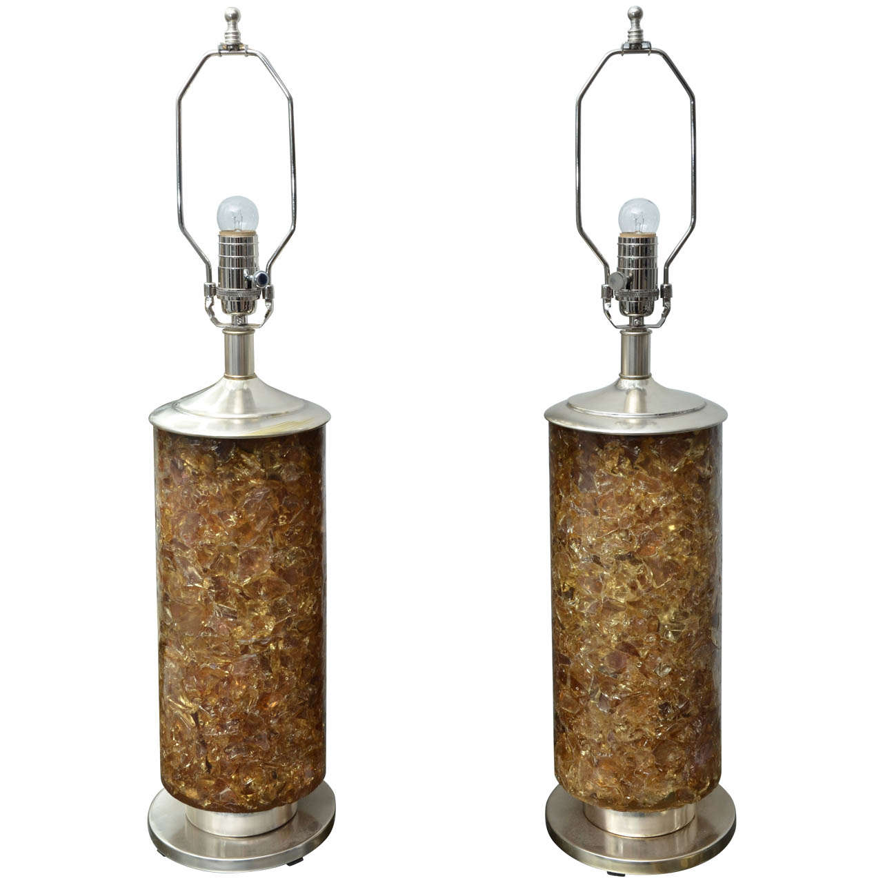 Pair of Amber Resin Lamps with Optional Interior Light