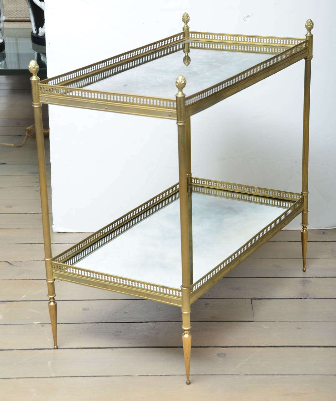High Quality Pair Of Two Tiered Brass Mirrored End Tables 2
