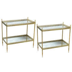 Pair of Two-Tiered Brass Mirrored End Tables