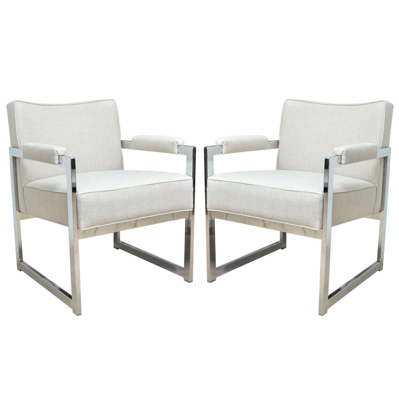 Pair of Chrome Frame Linen Upholstered Chairs by Milo Baughman