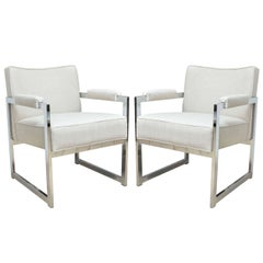 Pair of Chrome Frame Linen Upholstered Chairs