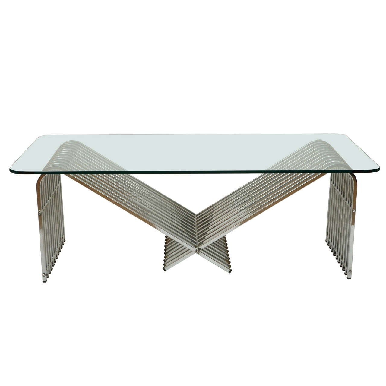 1970 39 S Chrome And Glass Coffee Table At 1stdibs