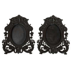 Pair of 19th Century Black Victorian Wooden Picture Frames
