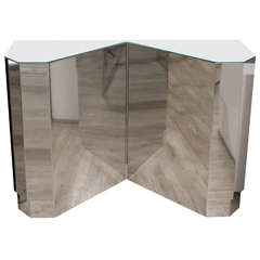 Stainless Steel Geometric Console Table