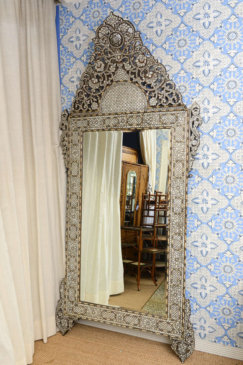 A spectaculair syrian bone and inlaid mother of pearl mirror the mirror is in two
