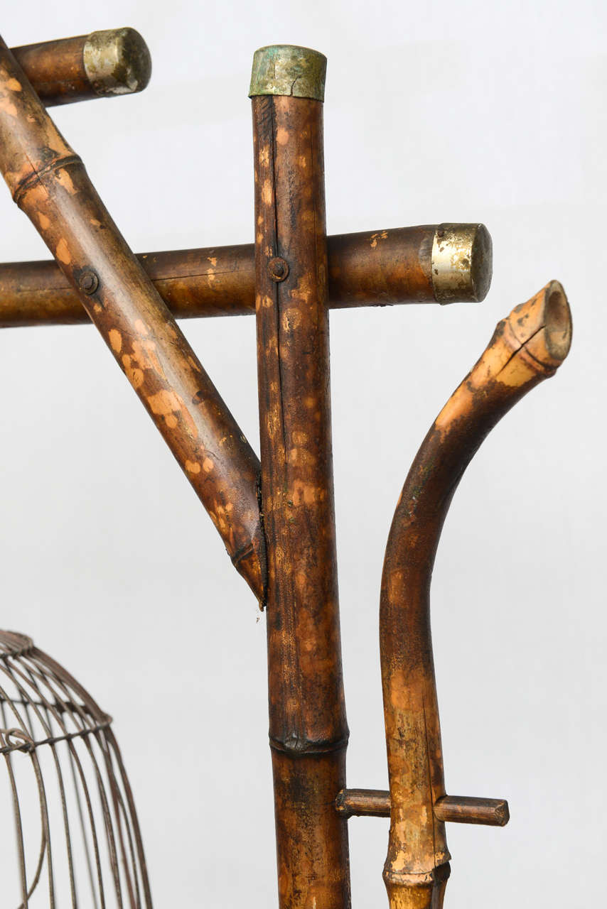 19th Century English Bamboo Bird Cage Stand 5