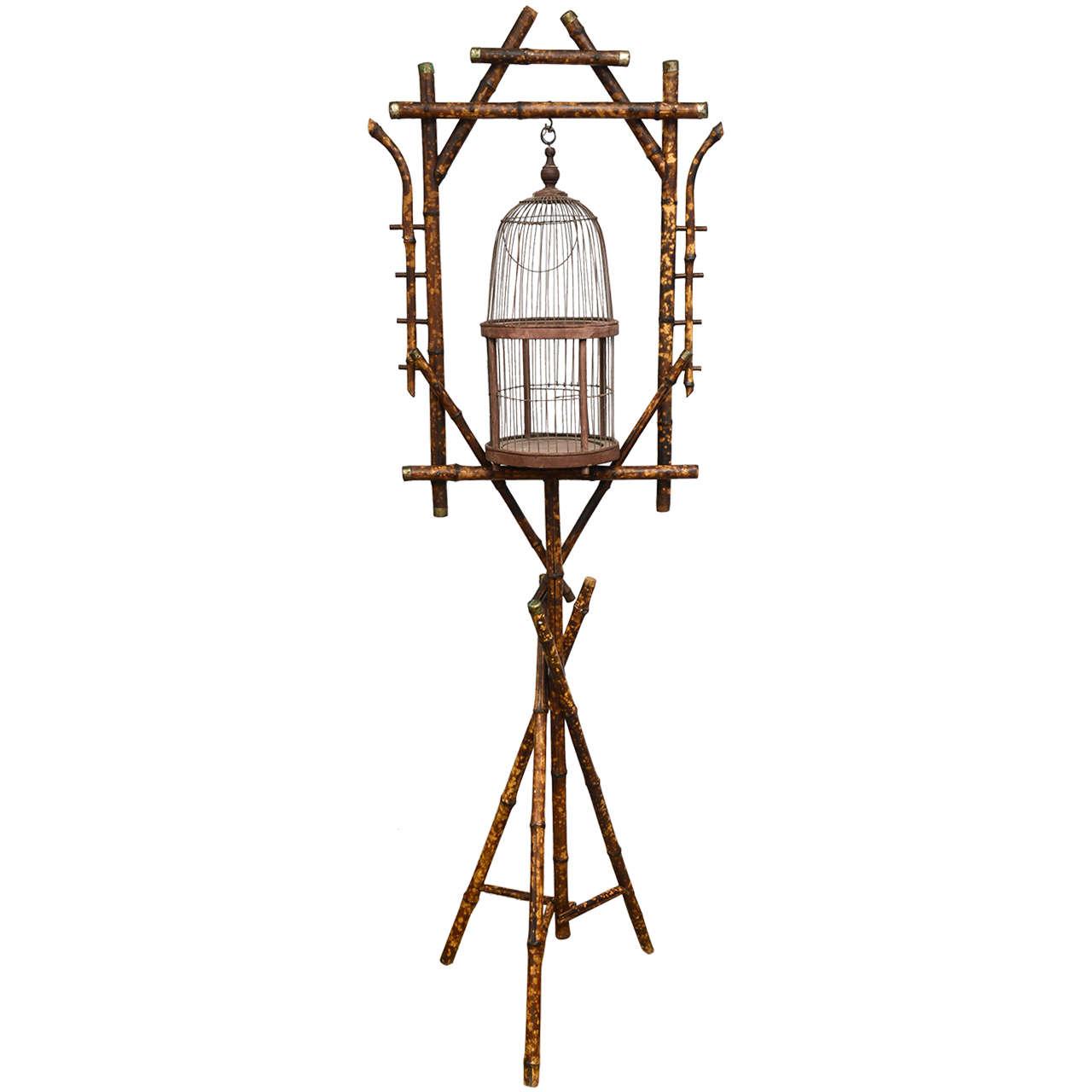 19th Century English Bamboo Bird Cage Stand 1