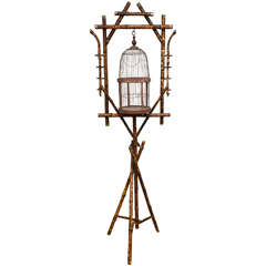 19th Century English Bamboo Bird Cage Stand