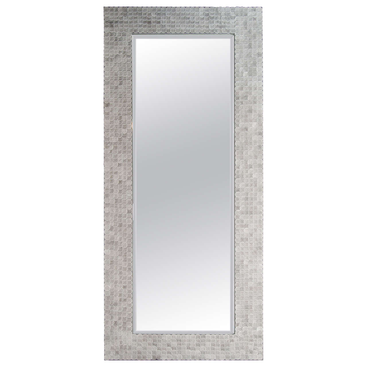 Modern Rectangular Full Length Mirror With Suede Frame Design For
