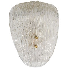 Scandinavian Modern Textured Glass and Brass Wall Sconce