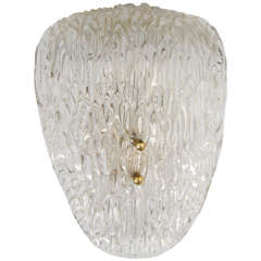 Midcentury Scandinavian Modern Textured Glass and Brass Wall Sconce