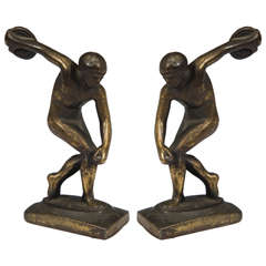 Pair of Art Deco Nude Male Discus Thrower Bookends
