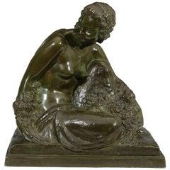 Art Deco Bronze Sculpture of a Semi-Nude Woman by Bouraine