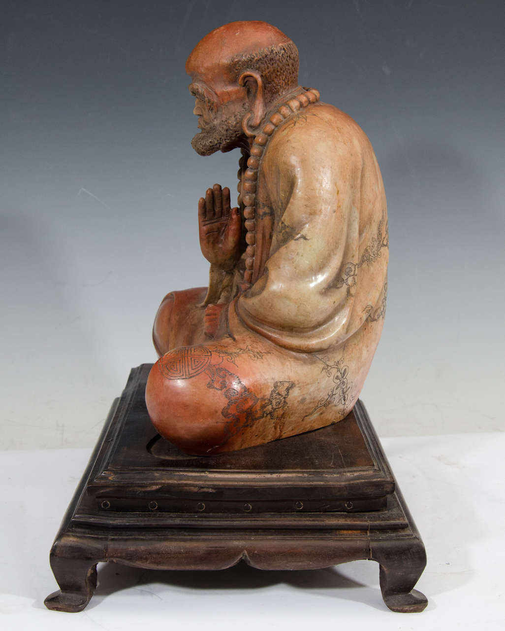 Chinese carved soapstone luohan sculpture circa s at