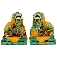 Antique Pair of Decorative Chinese Porcelain Foo Dogs
