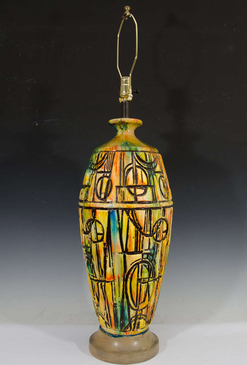 Mid century brutalist style italian ceramic lamp with for Design made in italy