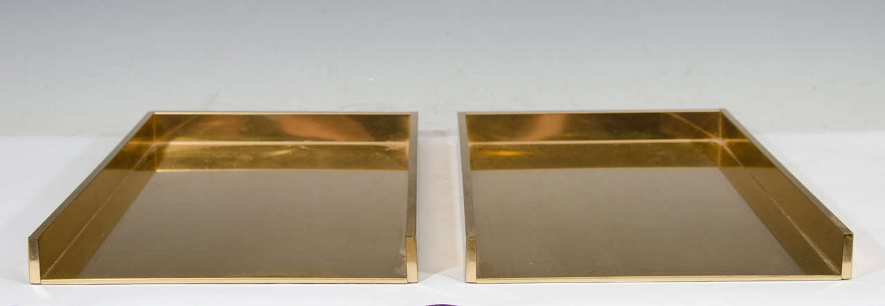 A Vintage Sleek Pair Of Stacking Desk Organizers Or Paper Trays In Brass.  Good Vintage