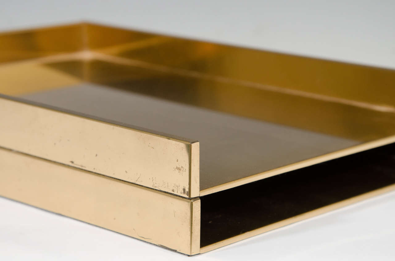 Modern Vintage Pair Of Sleek Brass Stackable Paper Trays Or Desk Organizers For