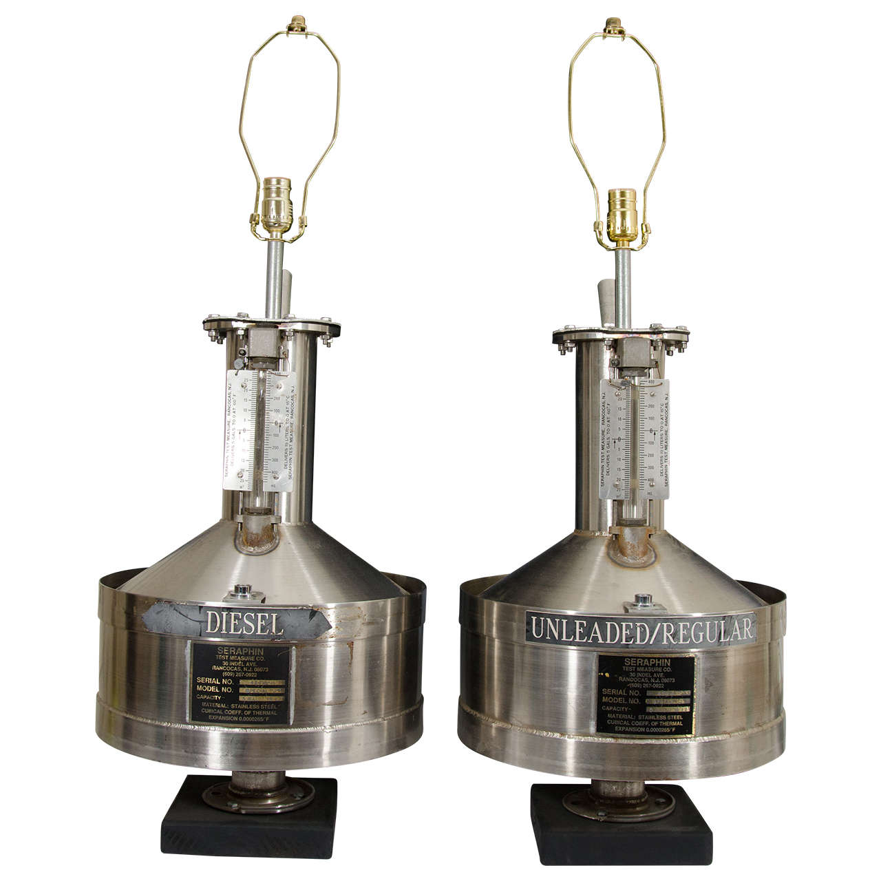 Pair of 1970s Industrial Style Gas Tank Table Lamps