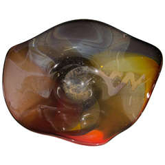 A 1970s Abstract Art Glass Sculpture