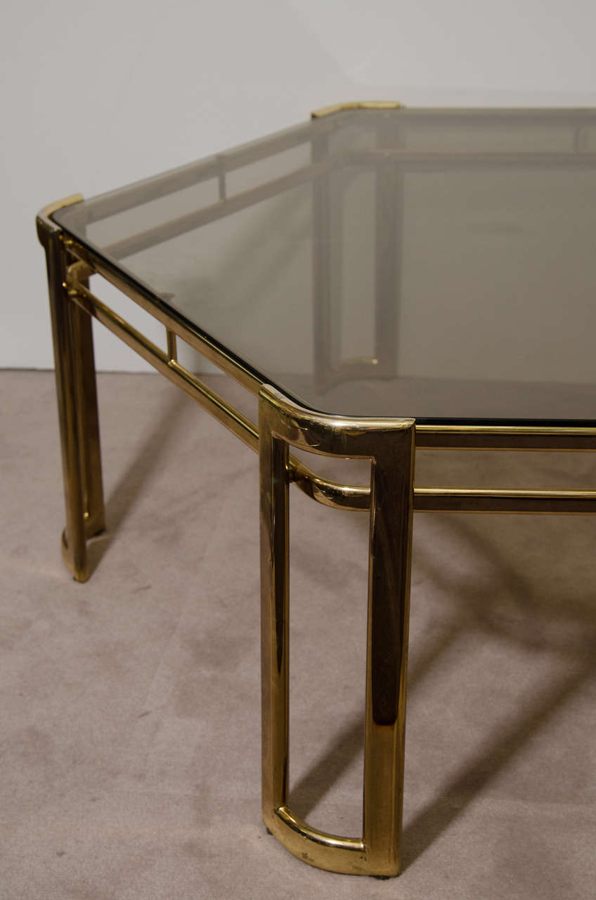 Mid-Century Modern Midcentury Brass-Plated Hexagonal Coffee or Cocktail Table For Sale