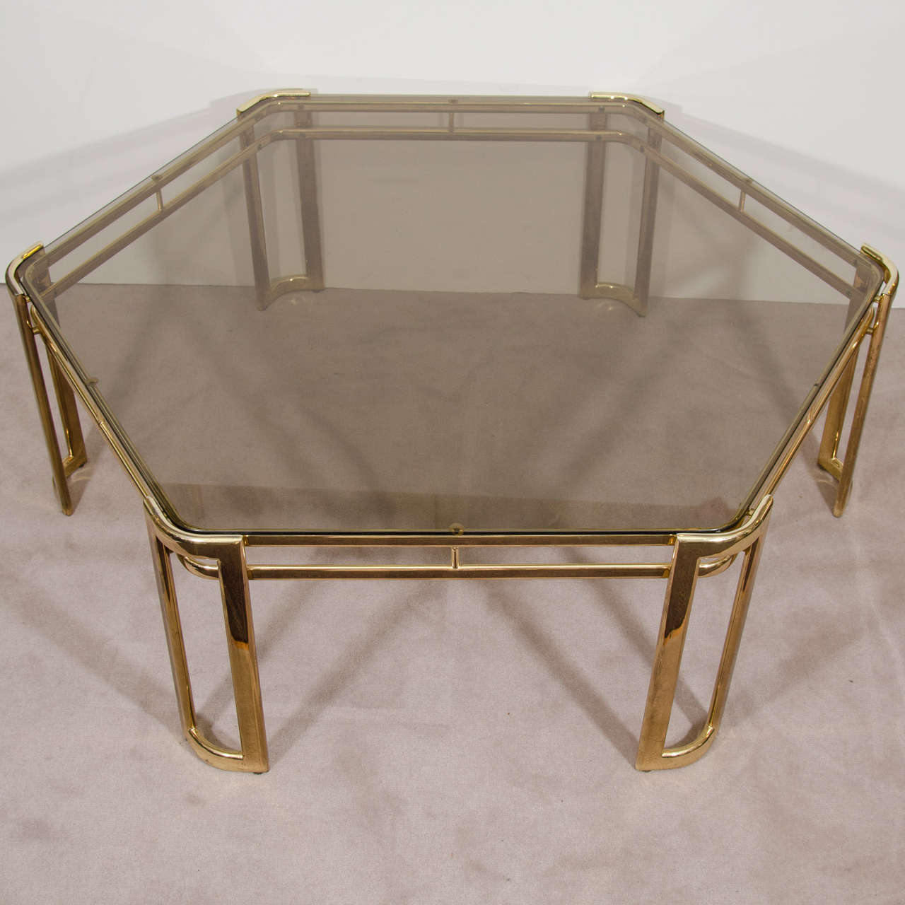 Midcentury Brass Plated Hexagonal Coffee Or Cocktail Table For Sale At 1stdibs