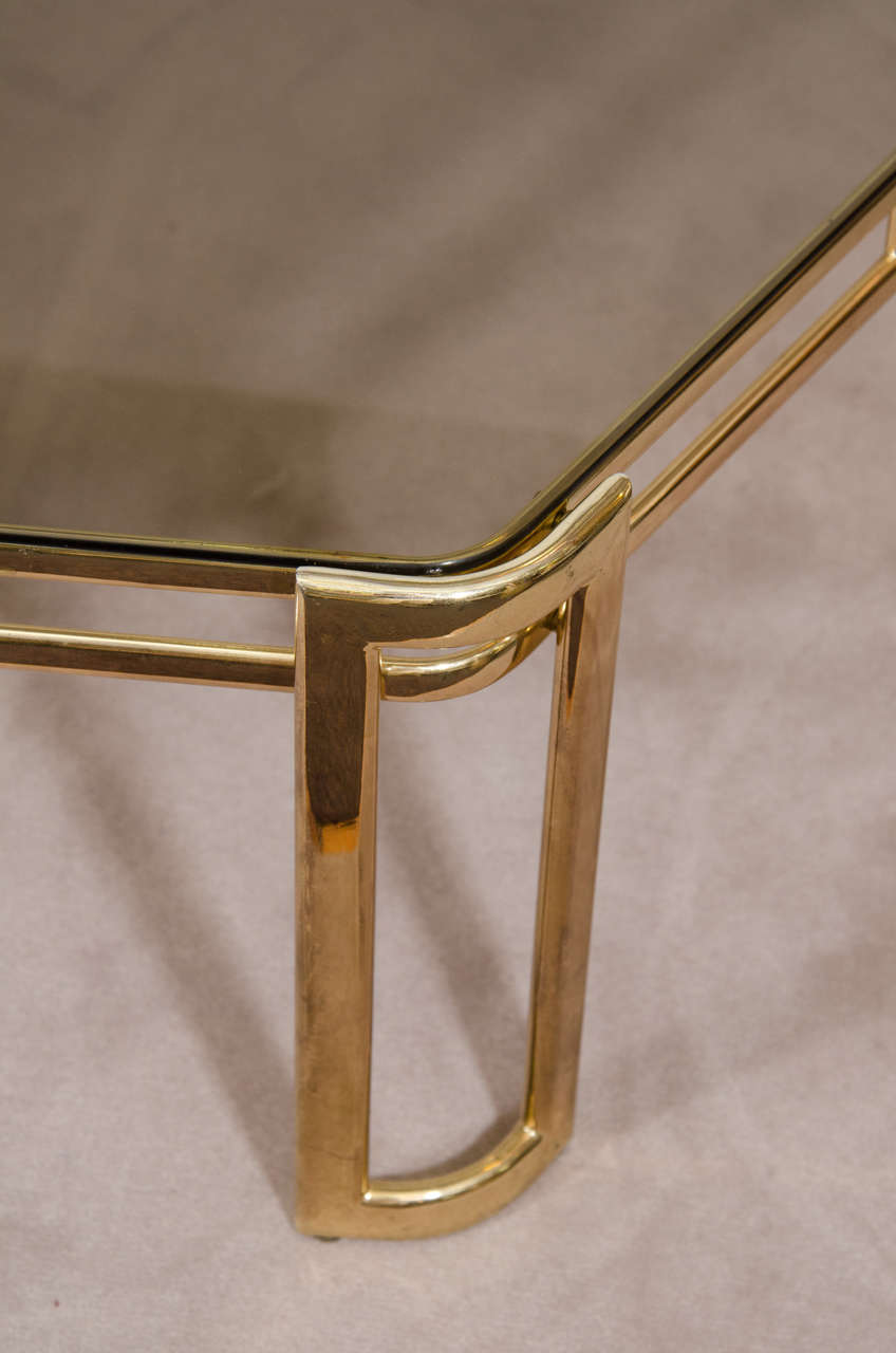 Glass Midcentury Brass-Plated Hexagonal Coffee or Cocktail Table For Sale