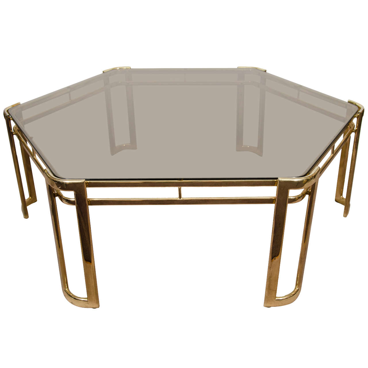 Midcentury Brass Plated Hexagonal Coffee Or Cocktail Table For Sale