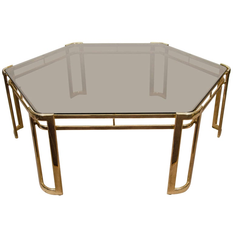 Midcentury Brass-Plated Hexagonal Coffee or Cocktail Table For Sale