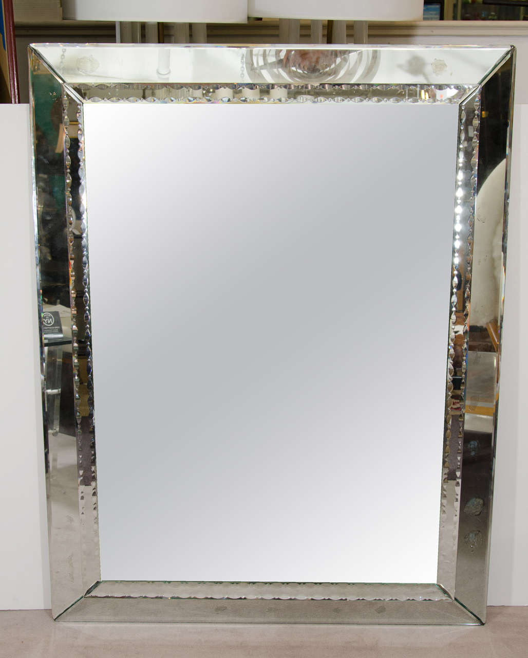 1960s Large Venetian Wall Mounted Mirror With Egg And Dart