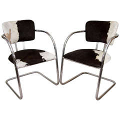 1930s Pair of KEM Weber Chairs in Cowhide