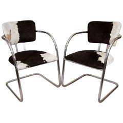 1930s Pair of KEM Weber Chairs in Cowhide