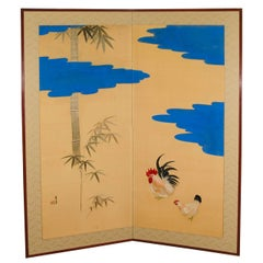 Meiji Period Japanese Two-Panel Screen with Scene of Rooster and Chicken