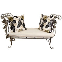 Vintage Hand Wrought Iron Bench with Scroll Arms and Rose Detail