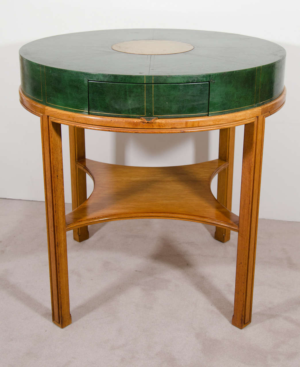 Midcentury Tommi Parzinger For Charak Modern, Round Leather Game Table 2