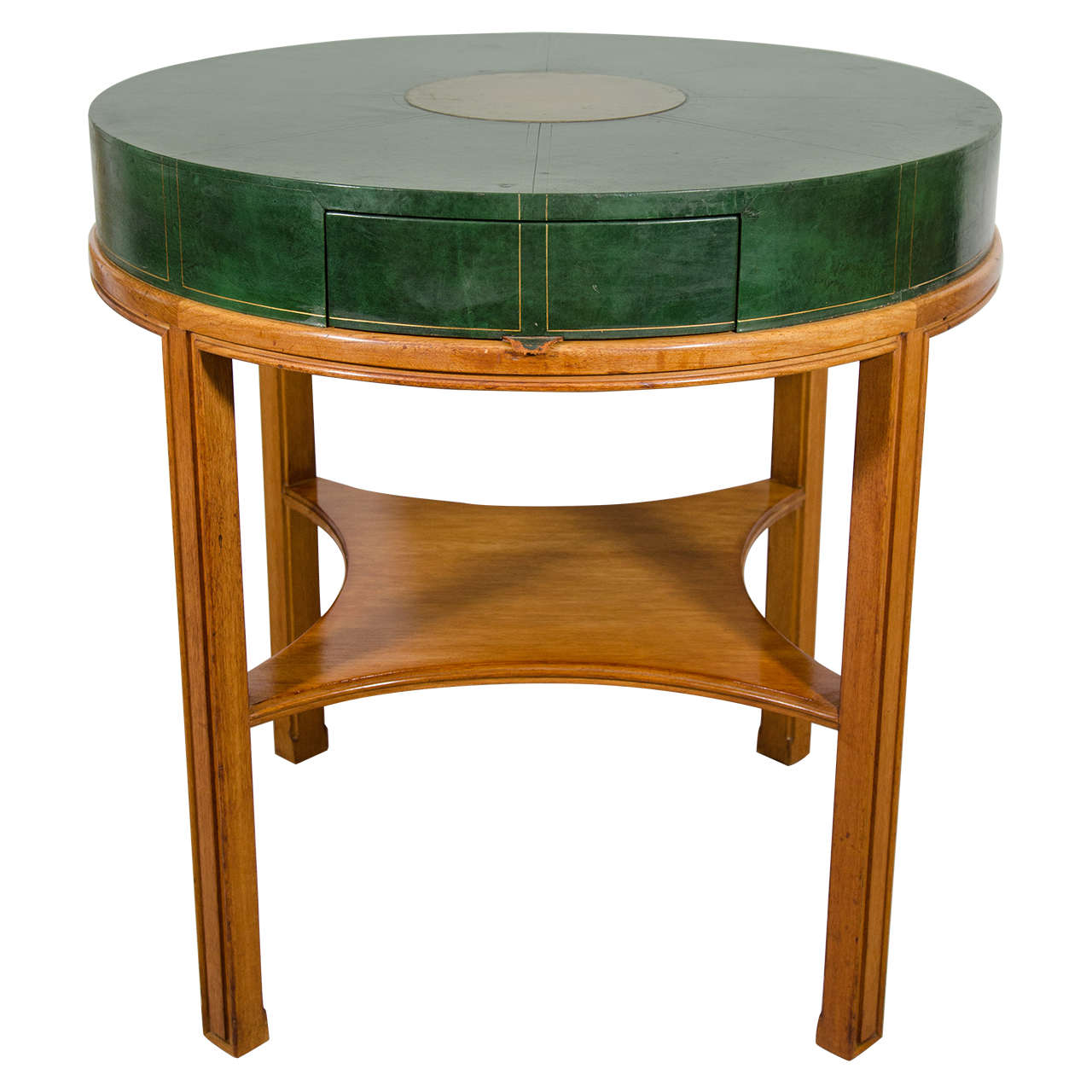 Delicieux Midcentury Tommi Parzinger For Charak Modern, Round Leather Game Table For  Sale