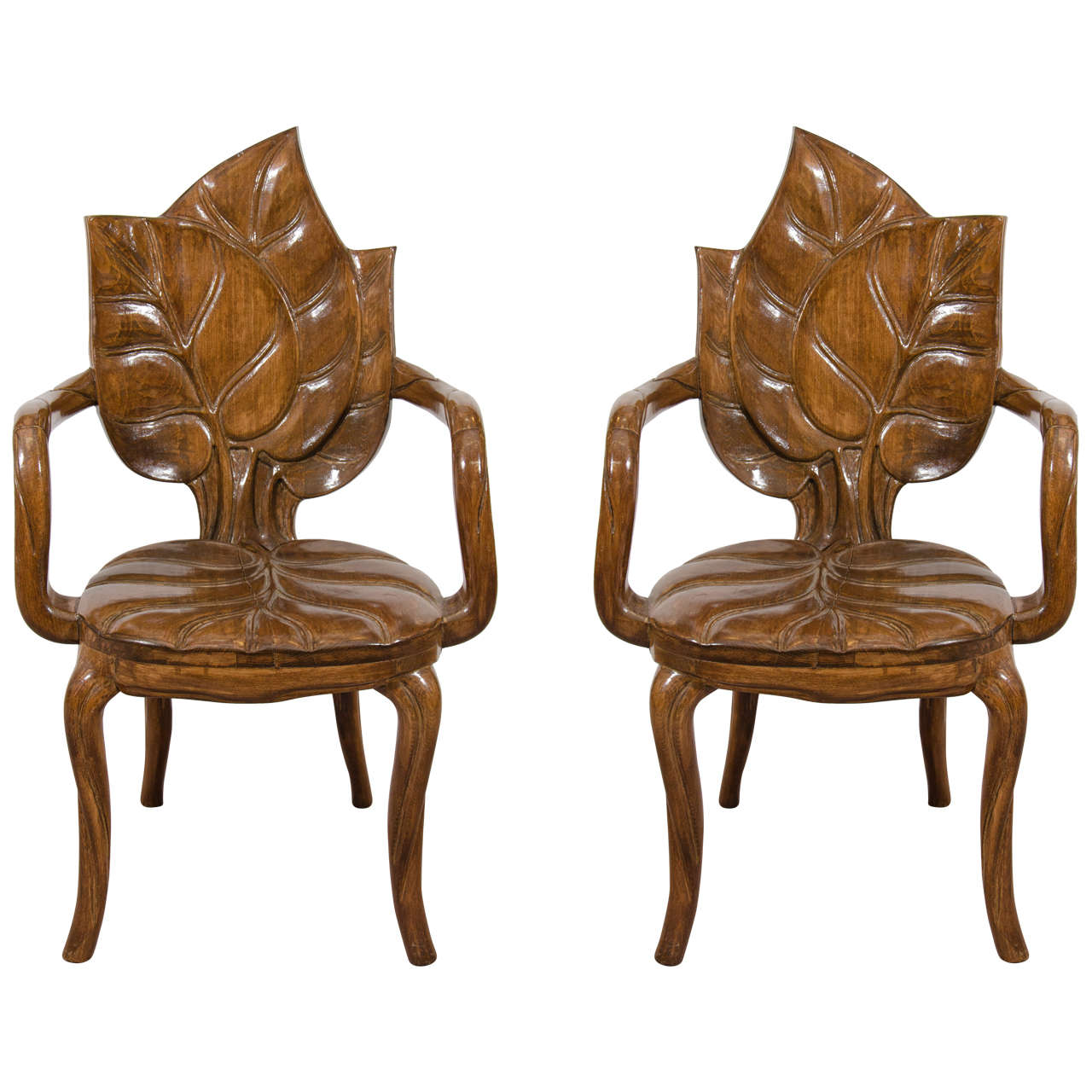 Art Nouveau Style Pair Of Sculptural Leaf Motif Armchairs