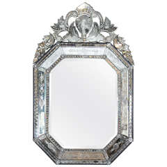1950s Ornately Carved Venetian Wall-Mounted Mirror