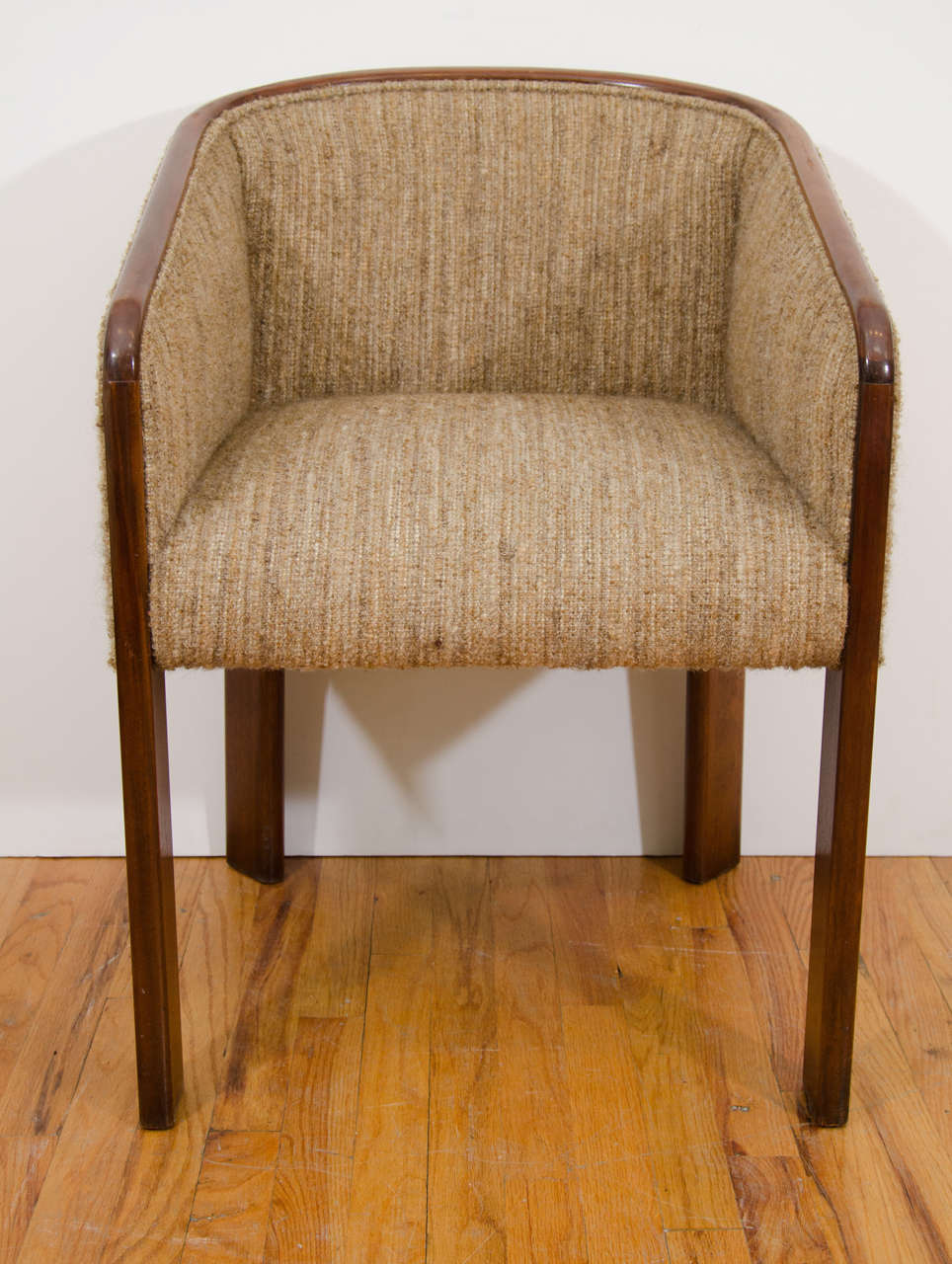 A Pair of Baker Furniture Tub Armchairs in Wool Upholstery at 1stdibs