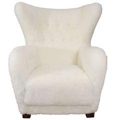 Danish Modern Wingback Lounge Armchair in the Style of Flemming Lassen