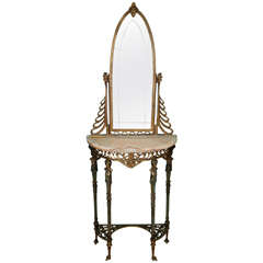 Oscar Bach Figural Console Table with Marble Top and Mirror