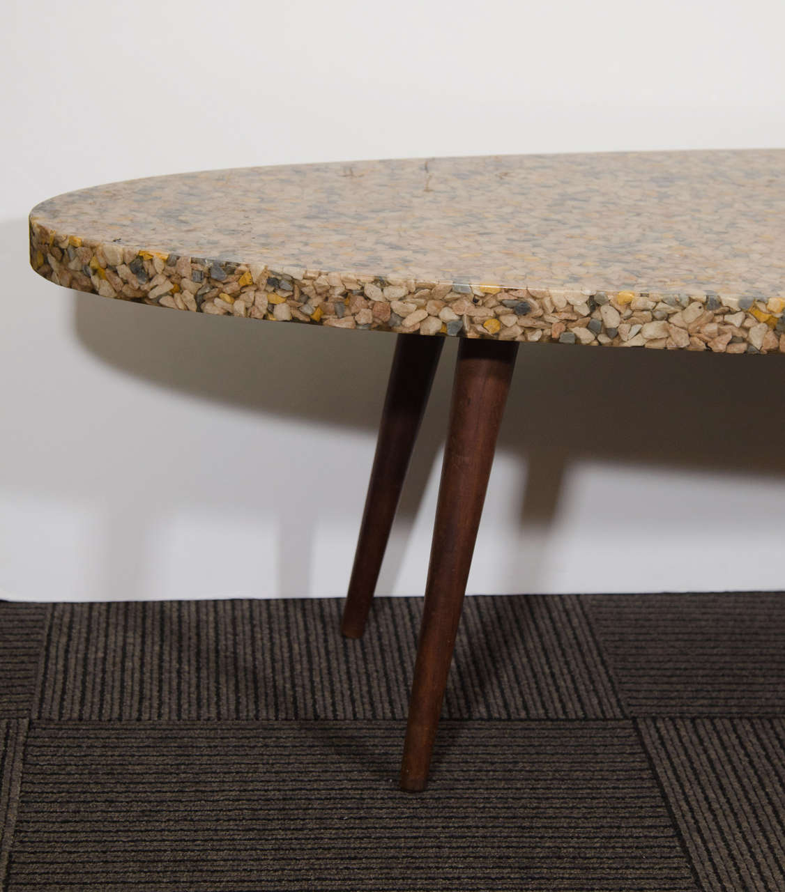 midcentury oval top resin coffee or cocktail table with river