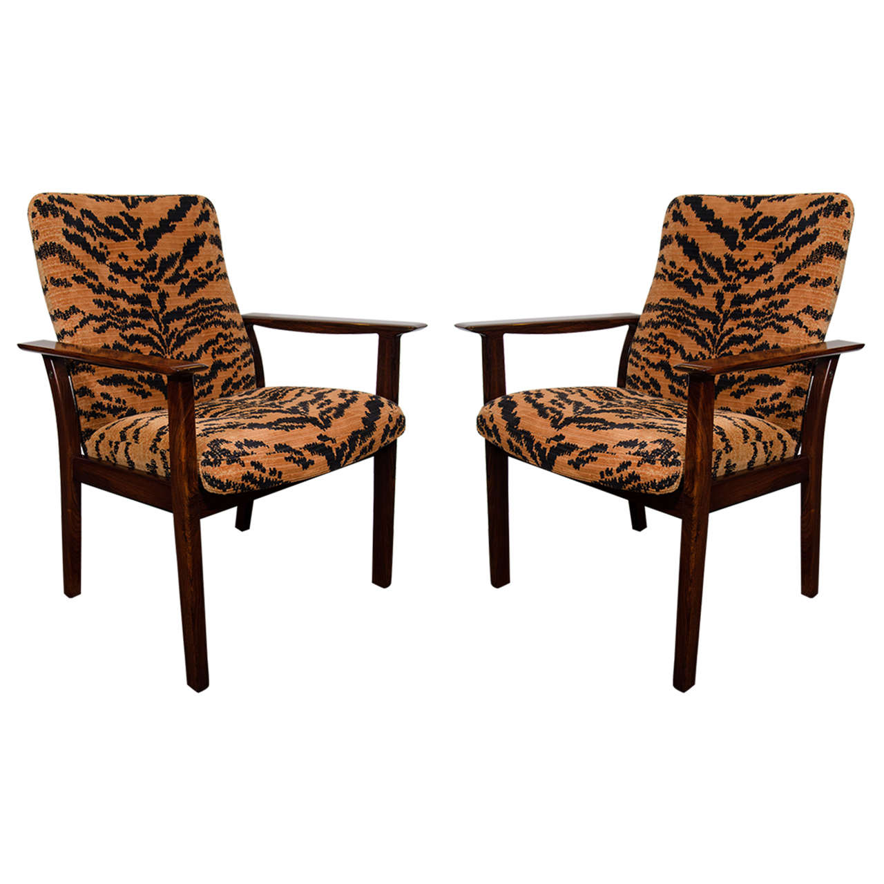Midcentury Pair of Rosewood Chairs in Tiger Velvet Upholstery