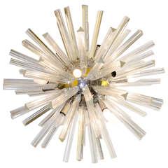 Midcentury Large Glass Rod Sputnik Chandelier