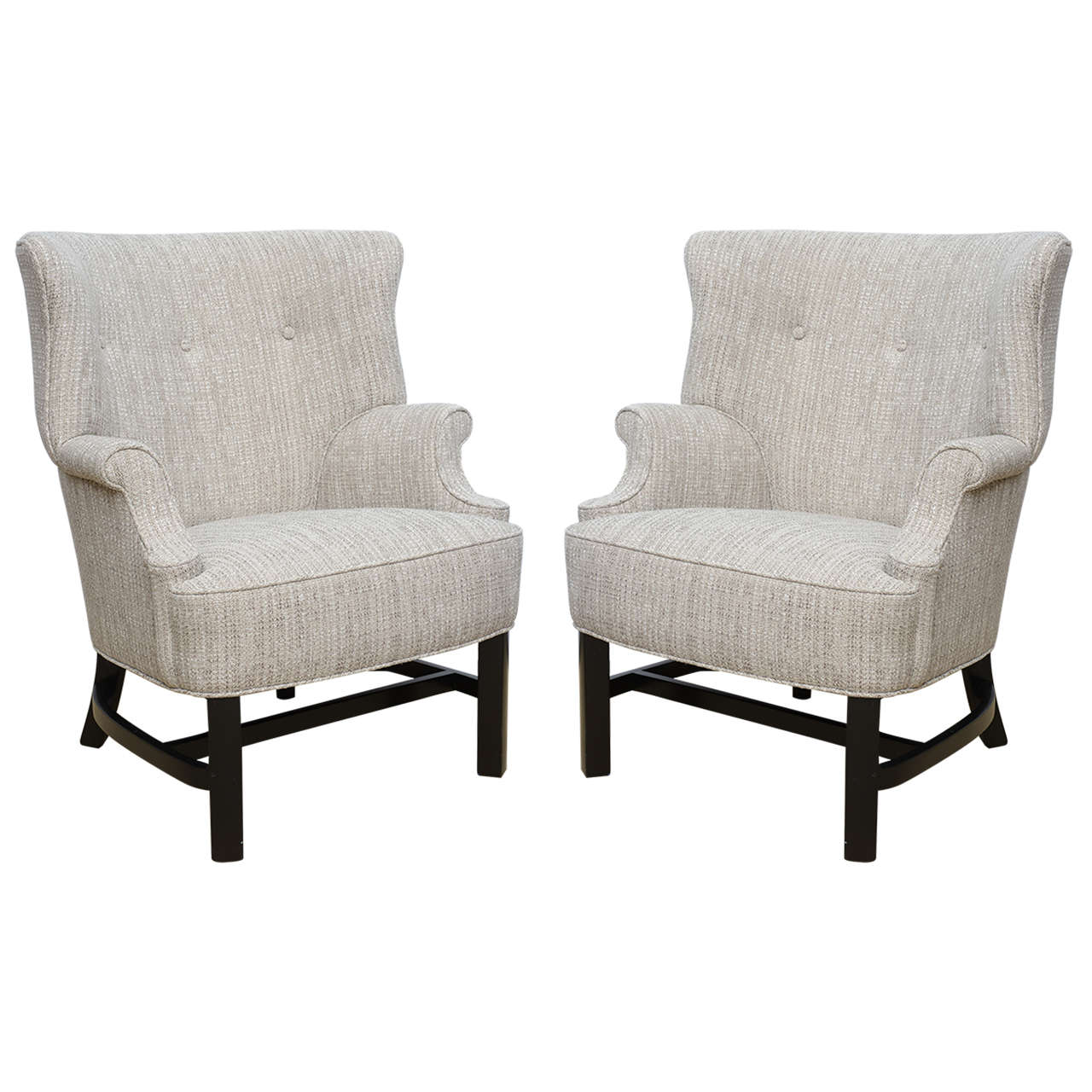 Danish modern wingback chair - Pair Of Mid Century Modern Petite Scale 1940s Dunbar Attributed Wingback Chairs 1
