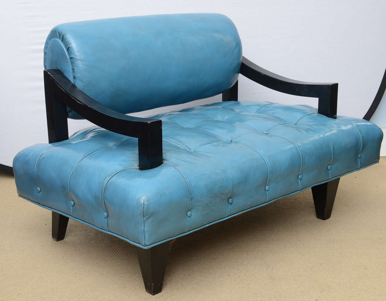 Pair of james mont mid century modern lounge chairs all for Mid century modern leather chairs