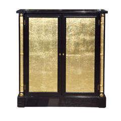 Ebonized Cabinet/Nightstand attri. Grosfeld House with gilt glas