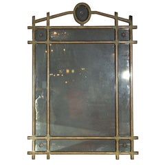 Monumental Maison Jansen Pier Mirror With Green And Gilt Paint Decorated Frame